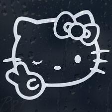 Hello Kitty Peace Funny Cartoon Car Or Laptop Decal Vinyl Sticker Colour Choice