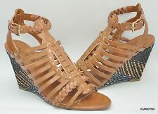 New Guess SCHYLER Woven Strappy Wedge Sandal Heel Shoe ~Brown *6.5