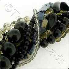 12 Mixed Glass Bead Strings - Black and Grey Mix Various Shapes and sizes