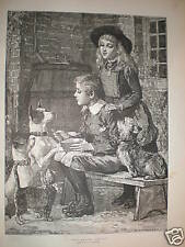 Who Speaks First C T Garland children dogs print 1885