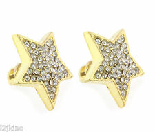 Ladies Gold Finished 16mm Large Stars Lab Cz Screw Back Stud Earrings