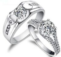 His and Hers Sterling Silver Promise Rings Wedding Rings