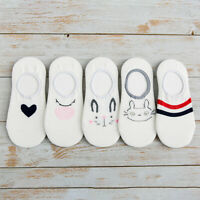5 Pairs Women Invisible Cotton Boat Socks Nonslip Loafer No Show Low Cut Socks