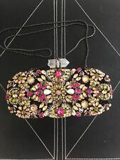 New Marchesa Lily Black & Multi Stone Crystal Clutch $2,995