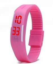 Baby Pink Digital Unisex Sports Watch With Time And Date On A Rubber Strap.