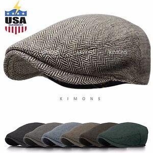EM Herringbone Ivy Hat Wool Stripe Gatsby Cap Golf Driving Flat Cabbie Newsboy