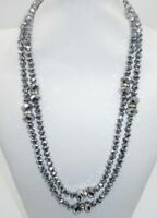 Crystal Beaded Necklace Strand Metallic Gray Gunmetal Long Hematite Rhinestone