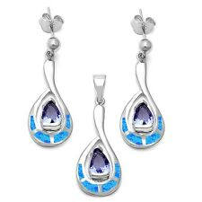 Lab Created Blue Opal & Tanzanite .925 Sterling Silver Earrings & Pendant Set