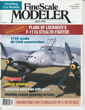 FINESCALE MODELER 7/90 F6F-5 HELLCAT, F-117A STEALTH, COCKPIT DETAILS, Bf110D