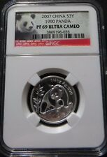 2007 CHINA SILVER 3 YUAN 25TH ANNIVERSARY 1990 PANDA NGC PF 69 ULTRA CAMEO