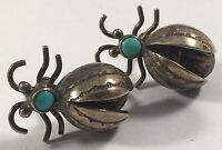 Vintage Native Indian Sterling Silver Bug Turquoise Screw-On Earrings