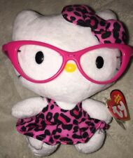 TY HELLO KITTY Beanie Baby with PINK LEOPARD DRESS/GLASSES/Bow