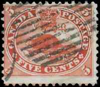 Canada #15 used F 1859 First Cents 5c vermilion Beaver CV$20.00