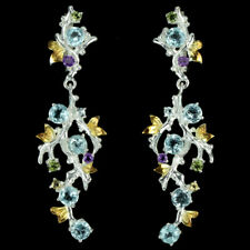 REAL TOPAZ PERIDOT AMETHYST & CITRINE STERLING 925SILVER 2-TONE FLORAL EARRING