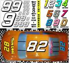WHITE  (#9's) Racing Numbers Decal Sticker Sheet 1/8 - 1/10-1/12 RC Nascar-Funny