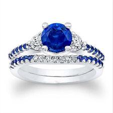 Neues AngebotRund Schliff 1.61 CT Natürlich Blauer Saphir Diamant 14K Echt Weißgold Band Sets