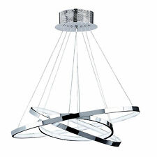 Cluster Pendant Ceiling Lamp 3 Chrome Rings Circles LED Lights