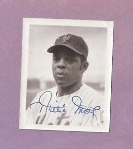 """Nice 4"""" x 5"""" Autographed Photo Of Willie Mays New York Mets"""