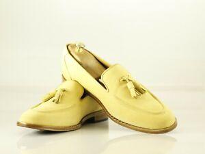 Handmade Men's Beige Suede Round Toe Tassel Dress Loafers, Men Designer Shoes
