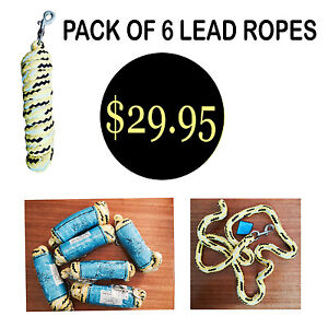 Pack of 6 Soft PP Braided Yellow Lead Rope 2.2mts Metal Quick Release Clip