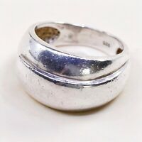 Size 7.5, Vtg Sterling Silver Handmade Modern Statement Ring 925 Wide Band