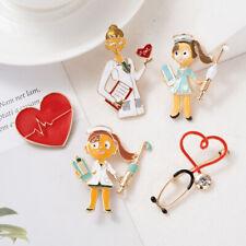 Badge Doctor Nurse Jewelry Gift Eager Cartoon Heart Enamel Brooch Pin Bag