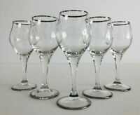 Vintage Set Of 5 Platinum Rimmed Clear 2 Oz Cordial/ Liqueur Stemmed Glasses