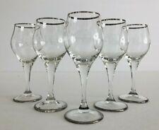 Vintage Set Of 5 Platinum Rimmed Clear 2 Oz Cordial/ Liqueur Stemmed Glasses