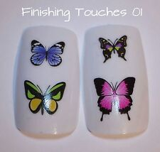 Nail Art Water Transfer- Pink Blue Butterfly #347 CO29 Shiny Decal Sticker