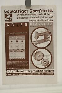 altes Prospekt Adler  Nähmaschine Nr. 87 um 1930 Werbeblatt