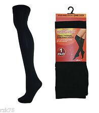 Ladies 2 Pack Black Thermal Over Knee Socks, Soft Brushed Inner, 140 Denier, 4-7