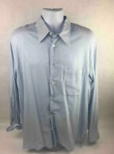 Ermenegildo Zegna Mens Button Up Shirt Blue French Cuffed Sleeve Pocket Cotton L