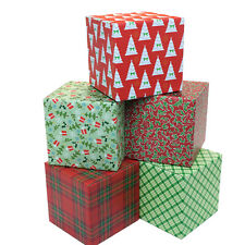 Holiday Gift Shipping Boxes Pack Of 5 Assorted Patterns 6x6x6