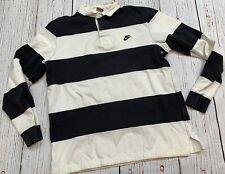 Nike Sportswear Rugby Long Sleeve Shirt Men's SZ L Striped Black & White Rare