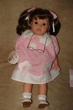 """Vtg Original STACEY Gotz 17"""" Doll Puppenfabrik Brunette Pigtails Pink Dress"""