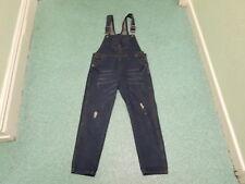 """Unknown Size XL Waist 32"""" Leg 27"""" Faded Dark Blue Ladies Denim Dungarees"""