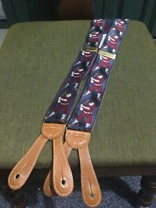 Cole Haan Baseball Silk Limited Edition Numbered Suspenders Braces A2696 Gray