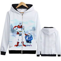 Undertale Sans Papyrus Game White Thick Sweatshirt Hoodie Zipper Jacket Coat #31