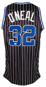 Shaquille O'Neal Signed Custom Black Striped Pro Style Basketball Jersey JSA ITP