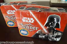 PAIR OF HIGHLY COLLECTIBLE STAR WARS DARTH VADER SUITCASE STYLE TINS UNOPENED