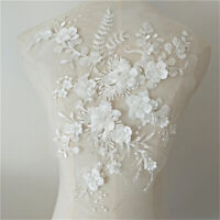 Wedding Dress 3D Fabric Flowers Pearl Beads Lace Sew on Patch Applique DIY