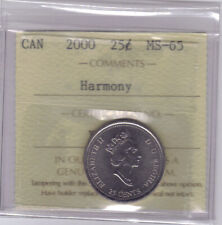 "**2000** Canadian 25 Cents ""Harmony""- ICCS MS-65 **NO SALES TAX**"