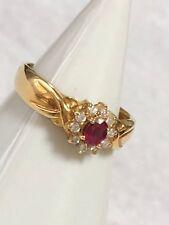 H. Stern Ruby Diamonds Ring 18K 750 Yellow Gold Vintage Original Box Authentic