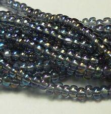 Black Lined Crystal Ab Czech 6/0 Seed Bead on Loose Strung 6 String Hank