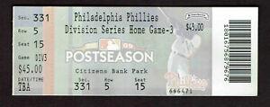 2009 NLDS Game 3 TICKET STUB Philadelphia Phillies vs Colorado Rockies