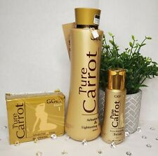 Gold Pure Carrot Arbutin Fair And Lightening Care Set - Lotion Soap Serum
