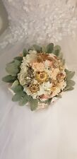 Bridal Bouquet Vintage brooches keepsake artificial ivory rose, pink, gold, sage