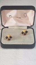 Stratton of London Cufflinks Boxed Oval Enamelled Black on Gold No27
