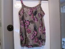 M&Co Khaki Navy Purple Hibiscus Print Strappy Top Vest 10 Beaded Holiday