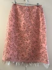 Betsey Johnson Rare Vintage Couture Skirt SZ S Pink w/flowers,leaves,sequins